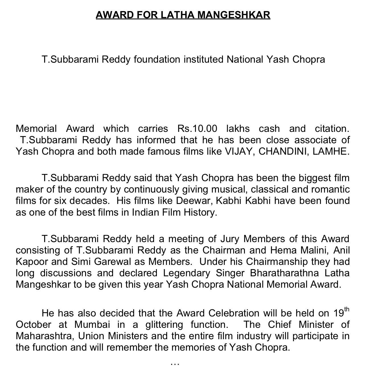 tsr award matter